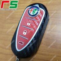 adhésifs Alfa Roméo Mito Giulietta 4C sticker clefs caoutchouc vinyle effet carbone