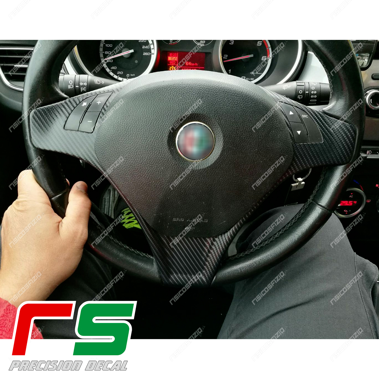 Stickers Car Alfa Romeo Mito Giulietta Commands Steering Wheel Decal Carbonlook