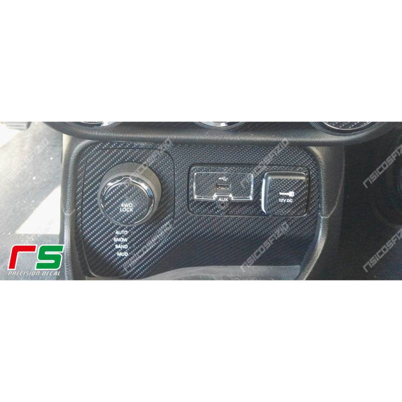 stickers Jeep Renegade carbonlook central cabinet selector traction 2