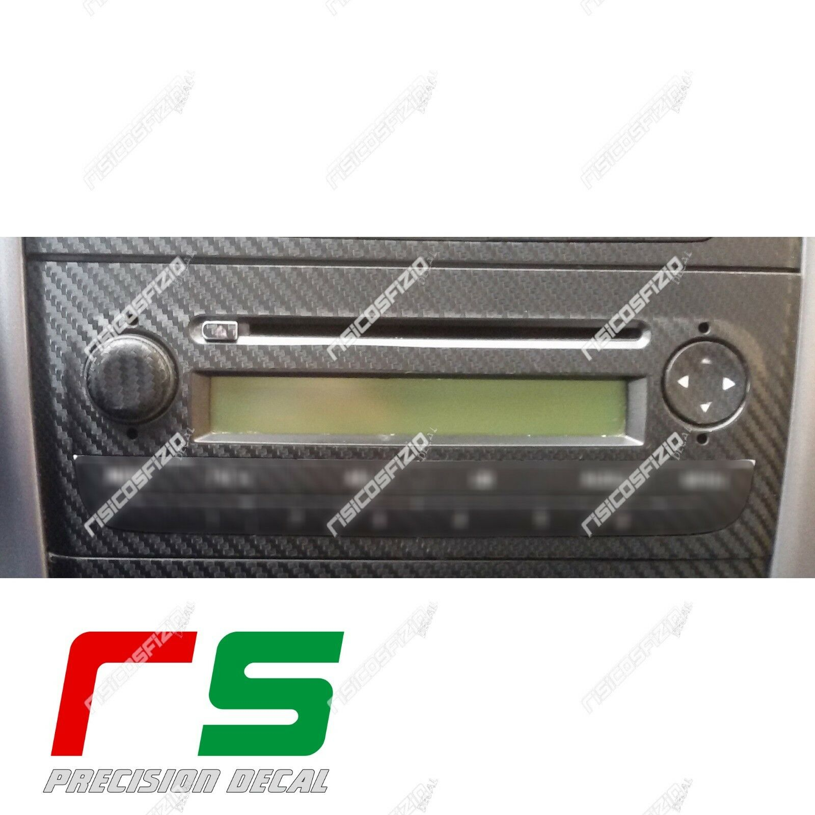 stickers Fiat Punto carbon look decal stereo CD player radio