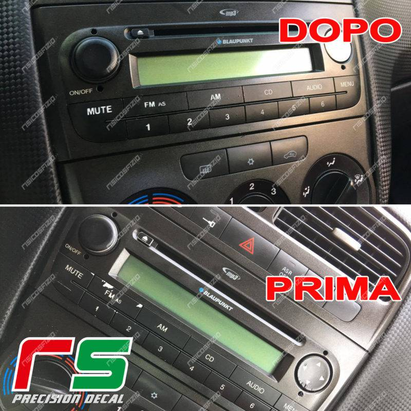 Fiat Punto stickers stereo radio buttons restore vinyl coloring