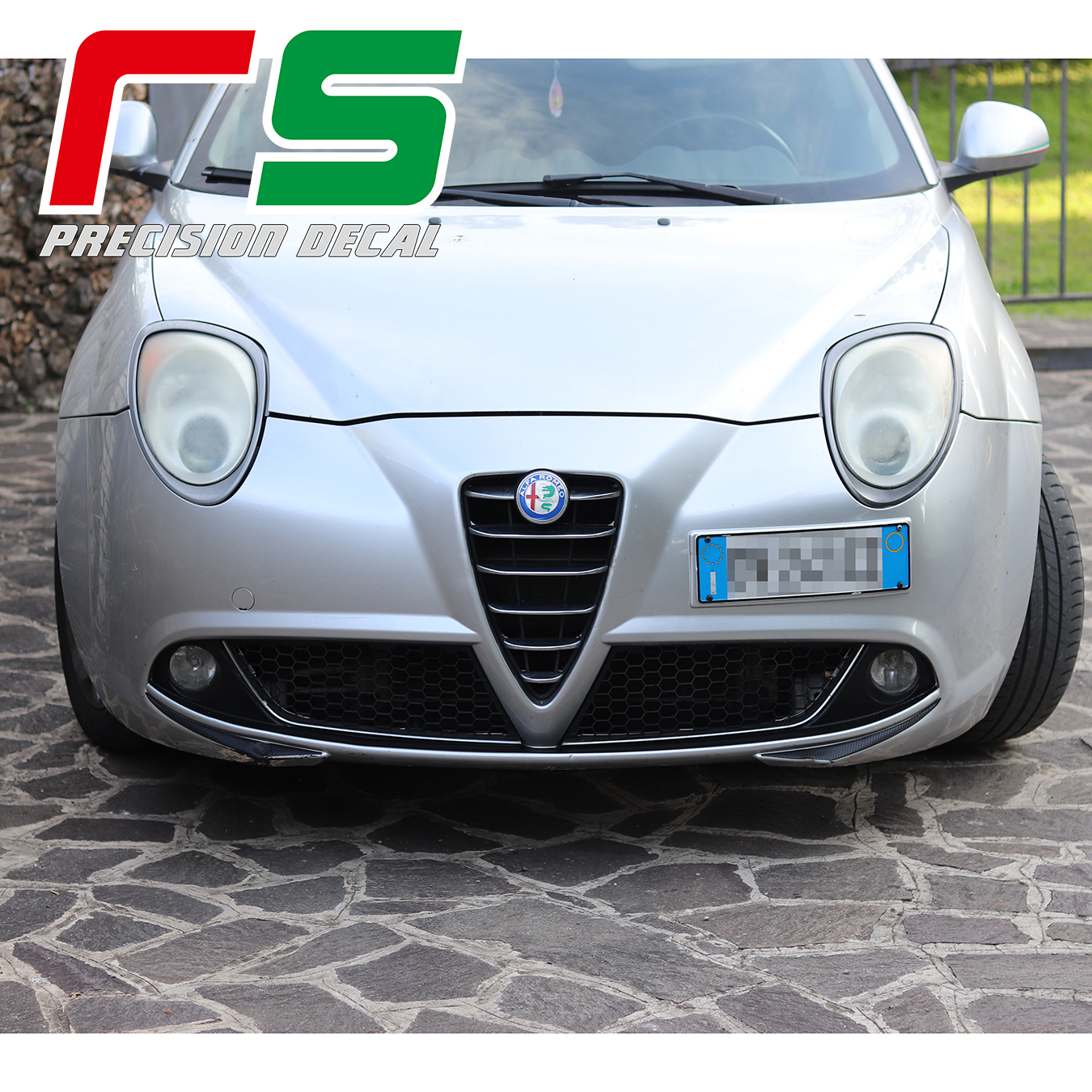 Alfa Romeo Mito Decal Bumper Inserts Mustache Fog Lights Carbonlook Tuning