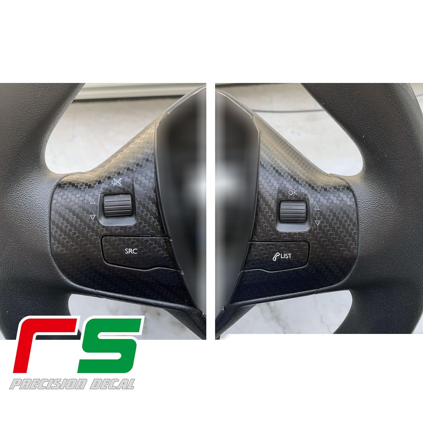 Peugeot 208 adesivi comandi al volante Decal carbonlook