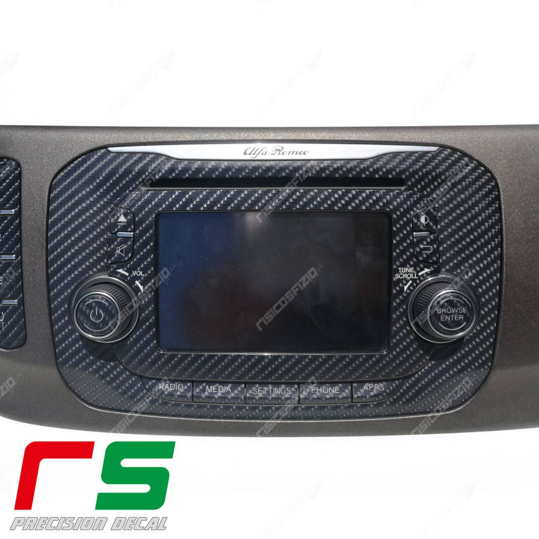 Adhésifs Alfa Romeo Giulietta Uconnect 5 RadioNav Decal carbonlook