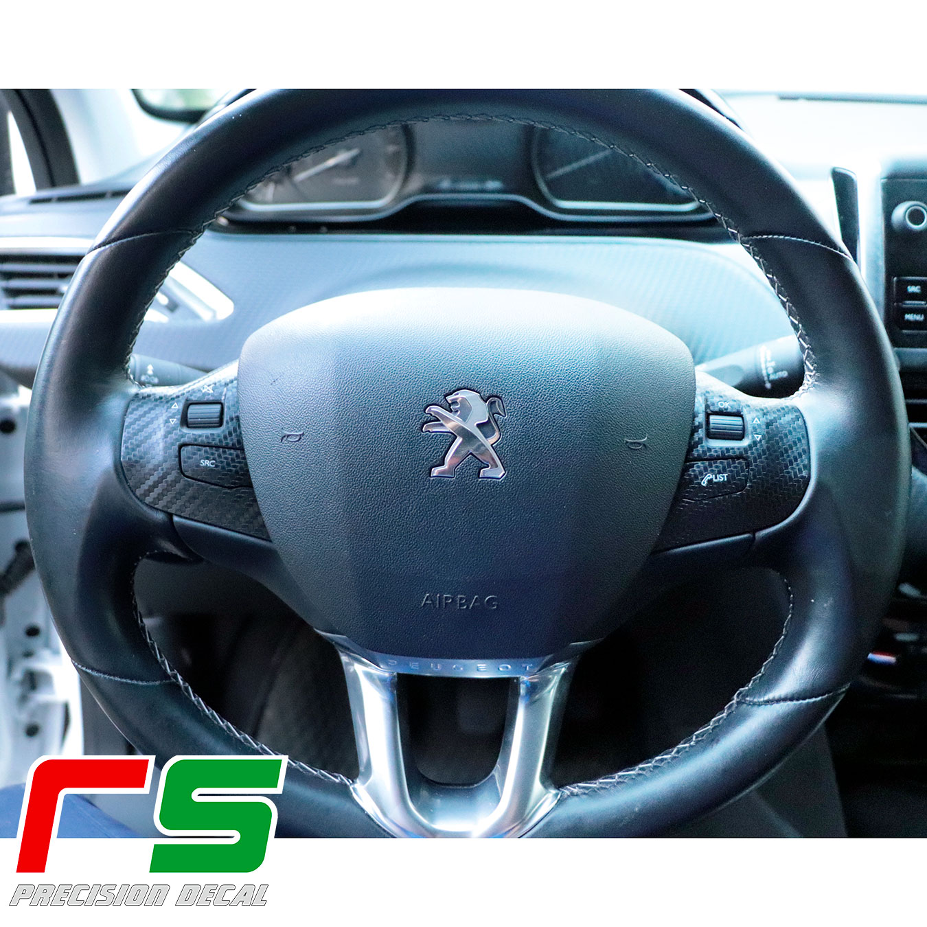 Autocollants Peugeot 208 sur le volant Decal tuning look carbone