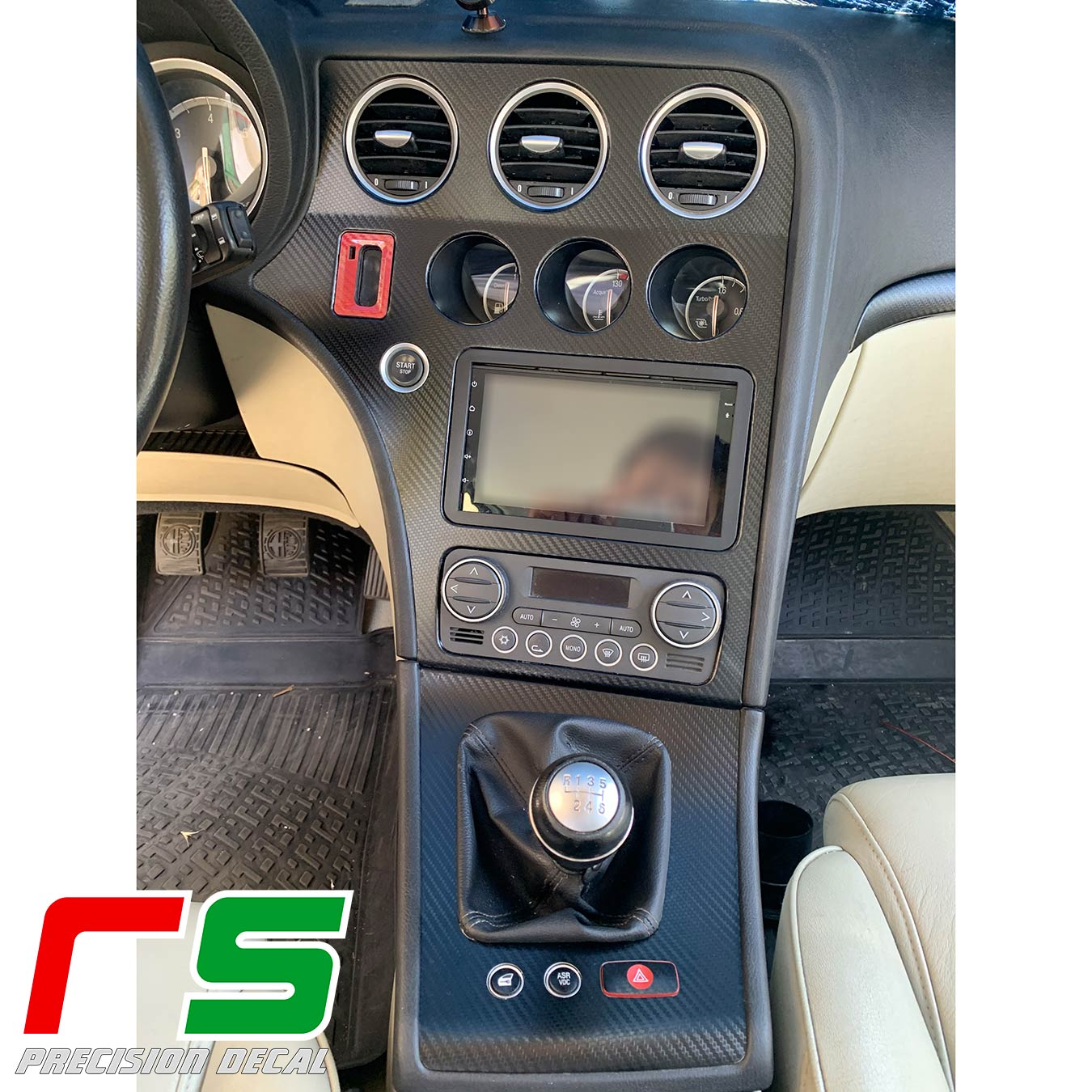 Alfa Romeo 159 stickers center console cover full frame change