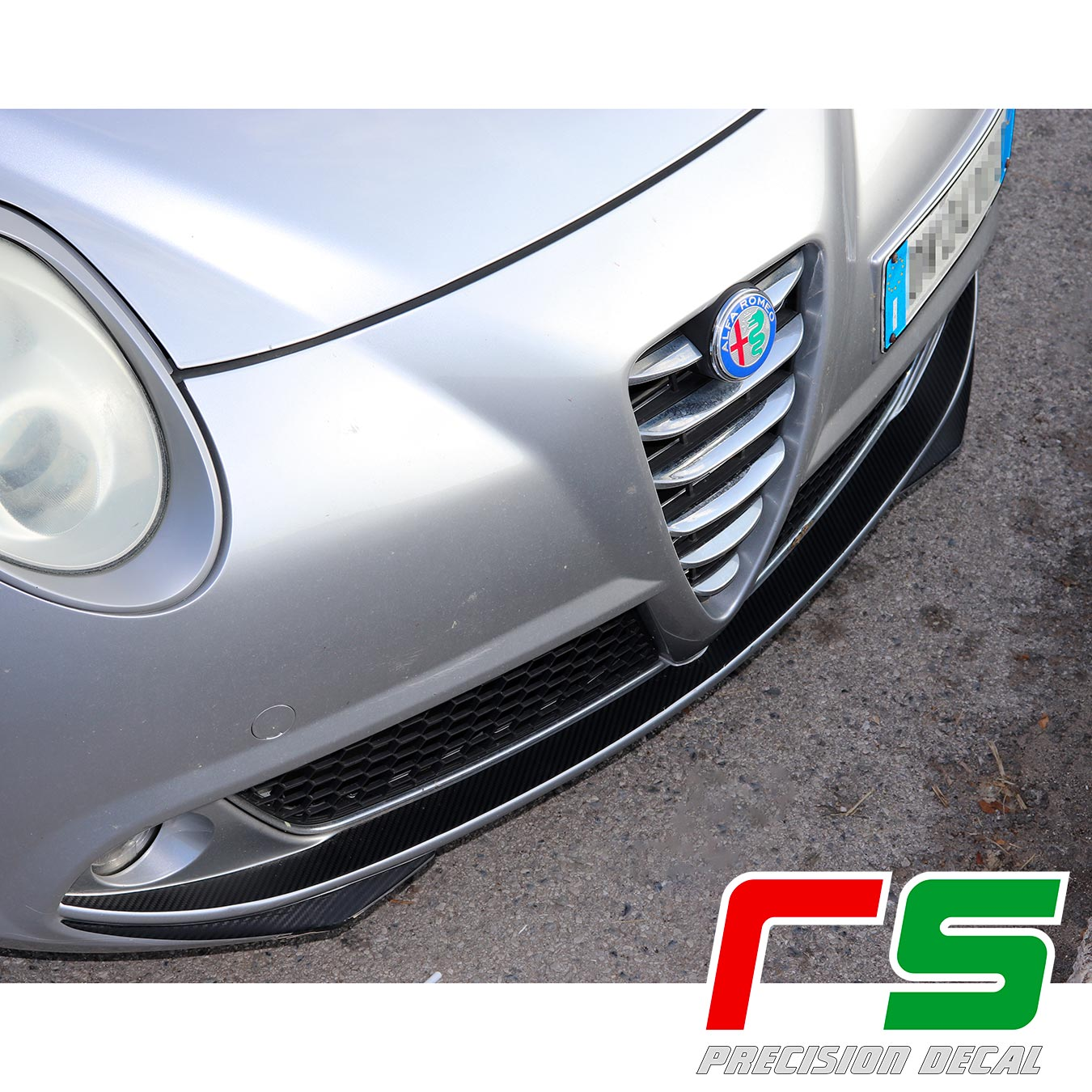 autocollants Alfa Romeo Mito Decal carbone look pare-chocs avant