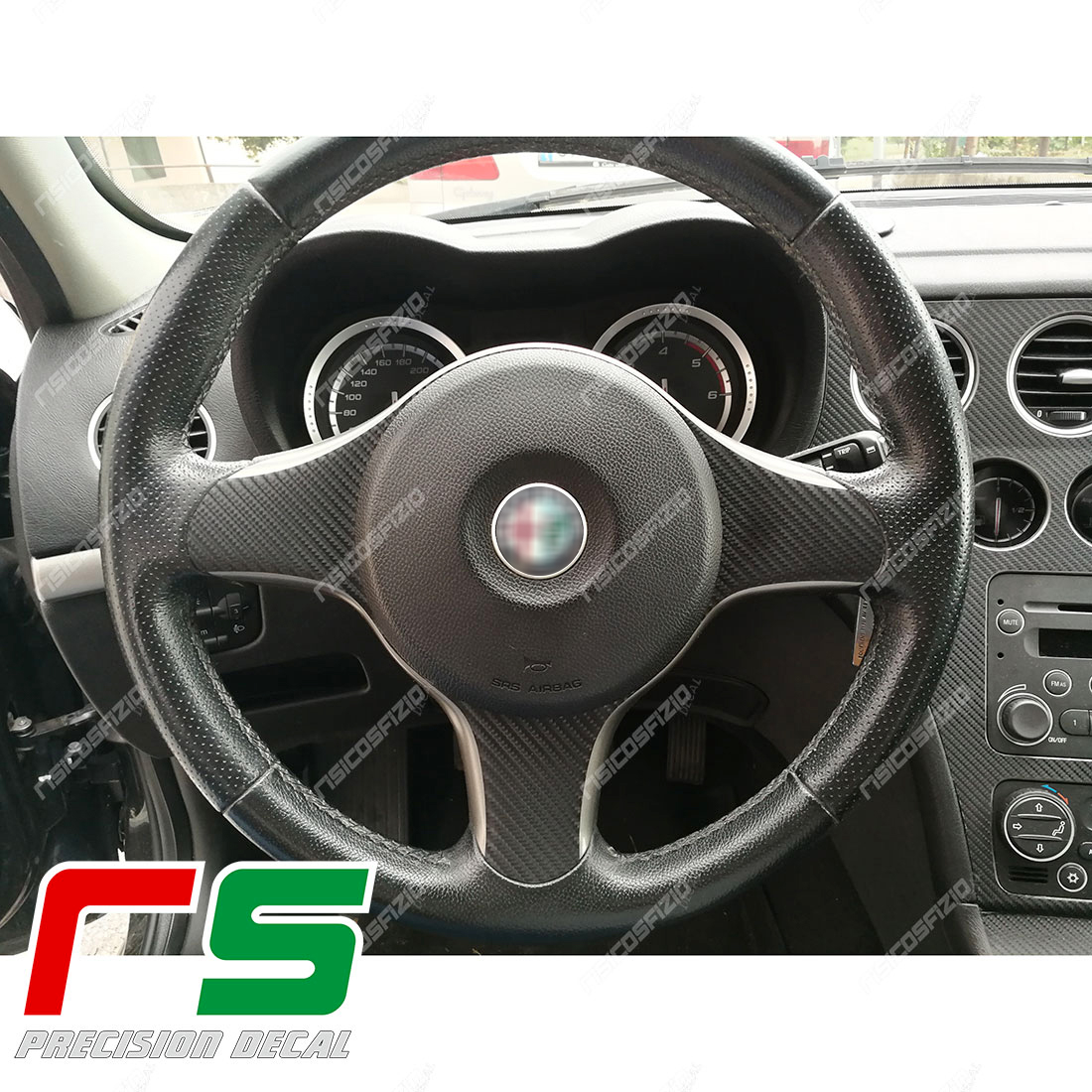 Alfa Romeo 159 stickers steering wheel inserts carbon look decal