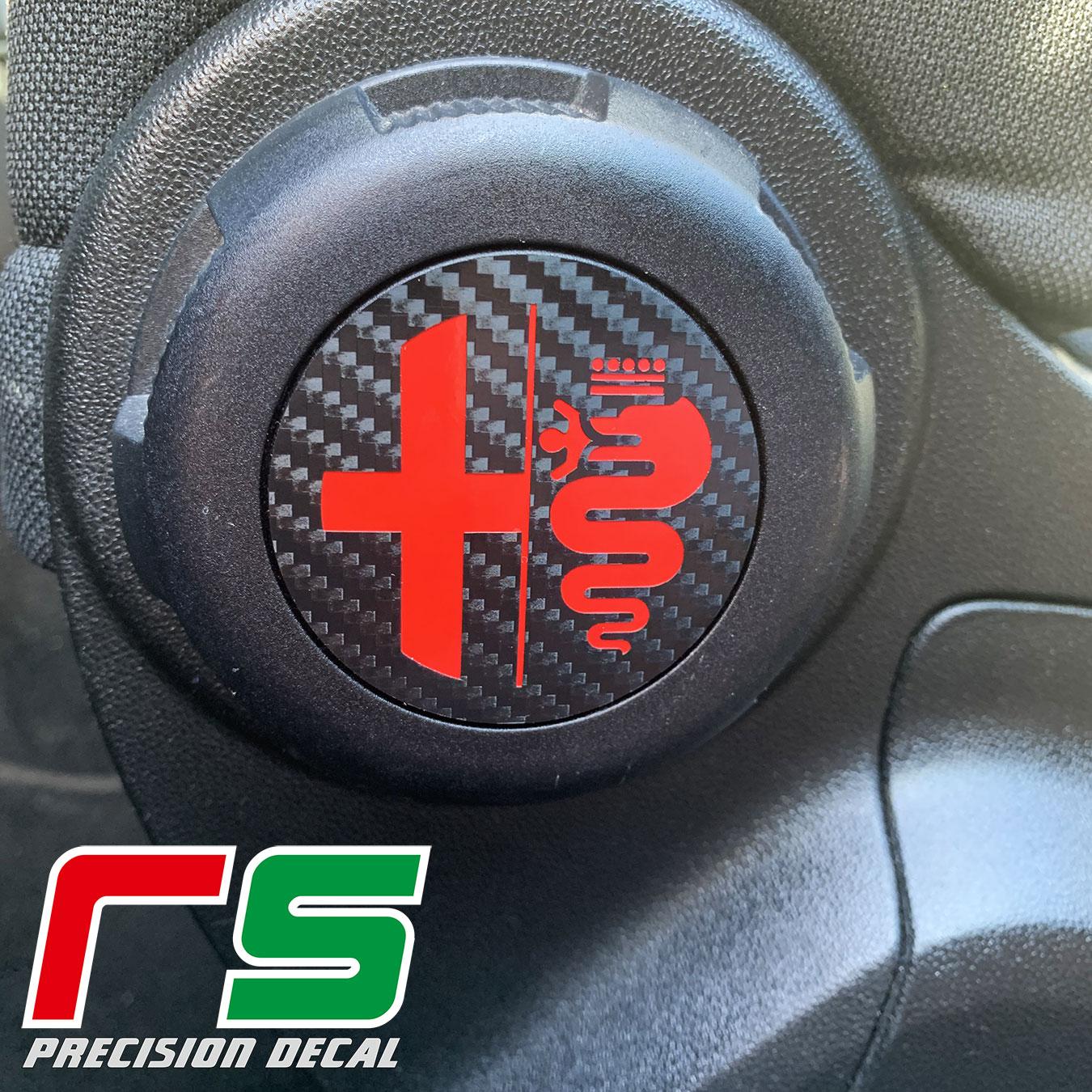 Alfa Romeo mito autocollants insert de bouton de siège aspect carbone