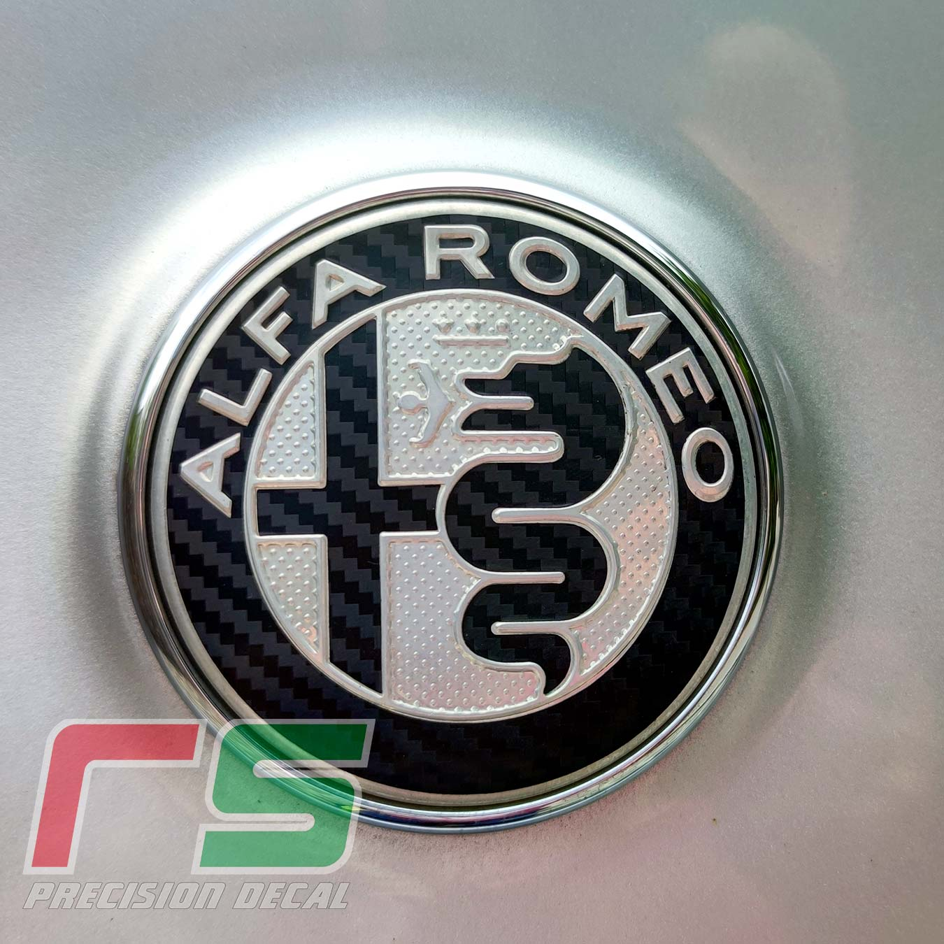 alfa romeo stickers restoration customize logo fregio carbonlook