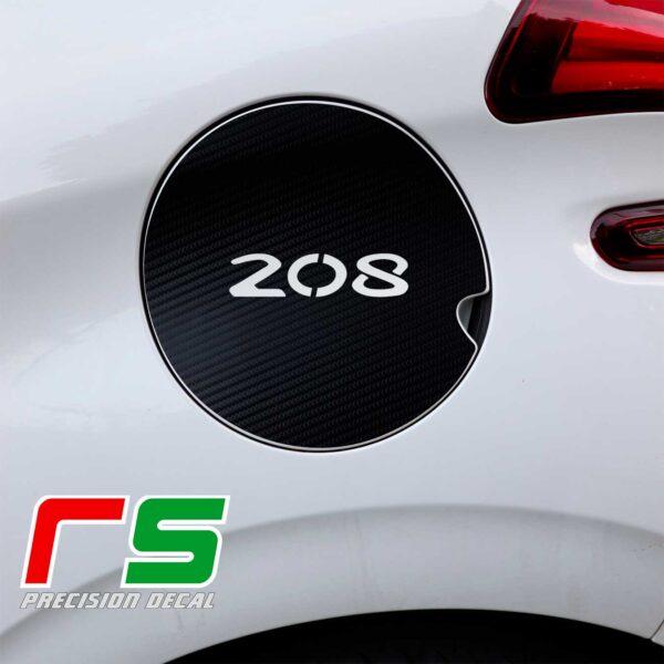 Peugeot 208 adesivi sportello serbatoio decal carbonlook