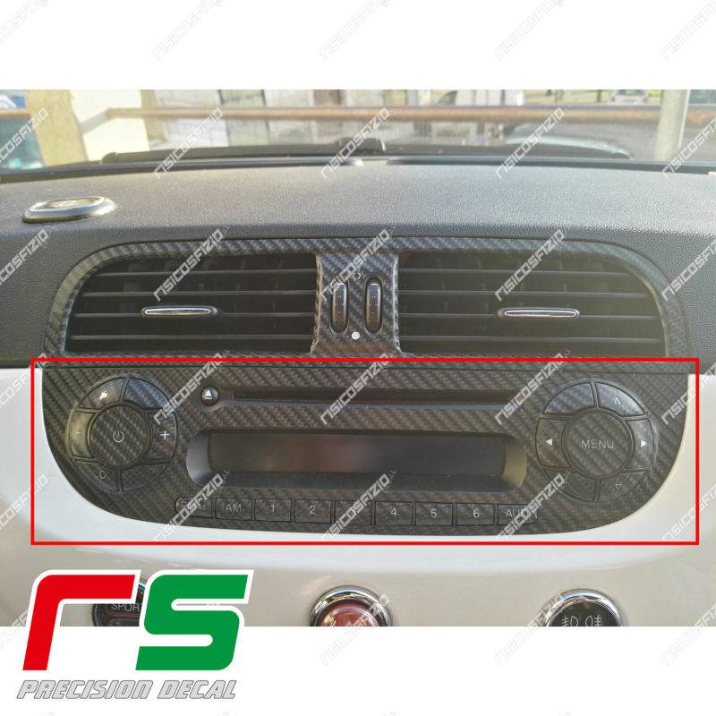 adhésifs Fiat 500 Abarth sticker look carbone stereo radio