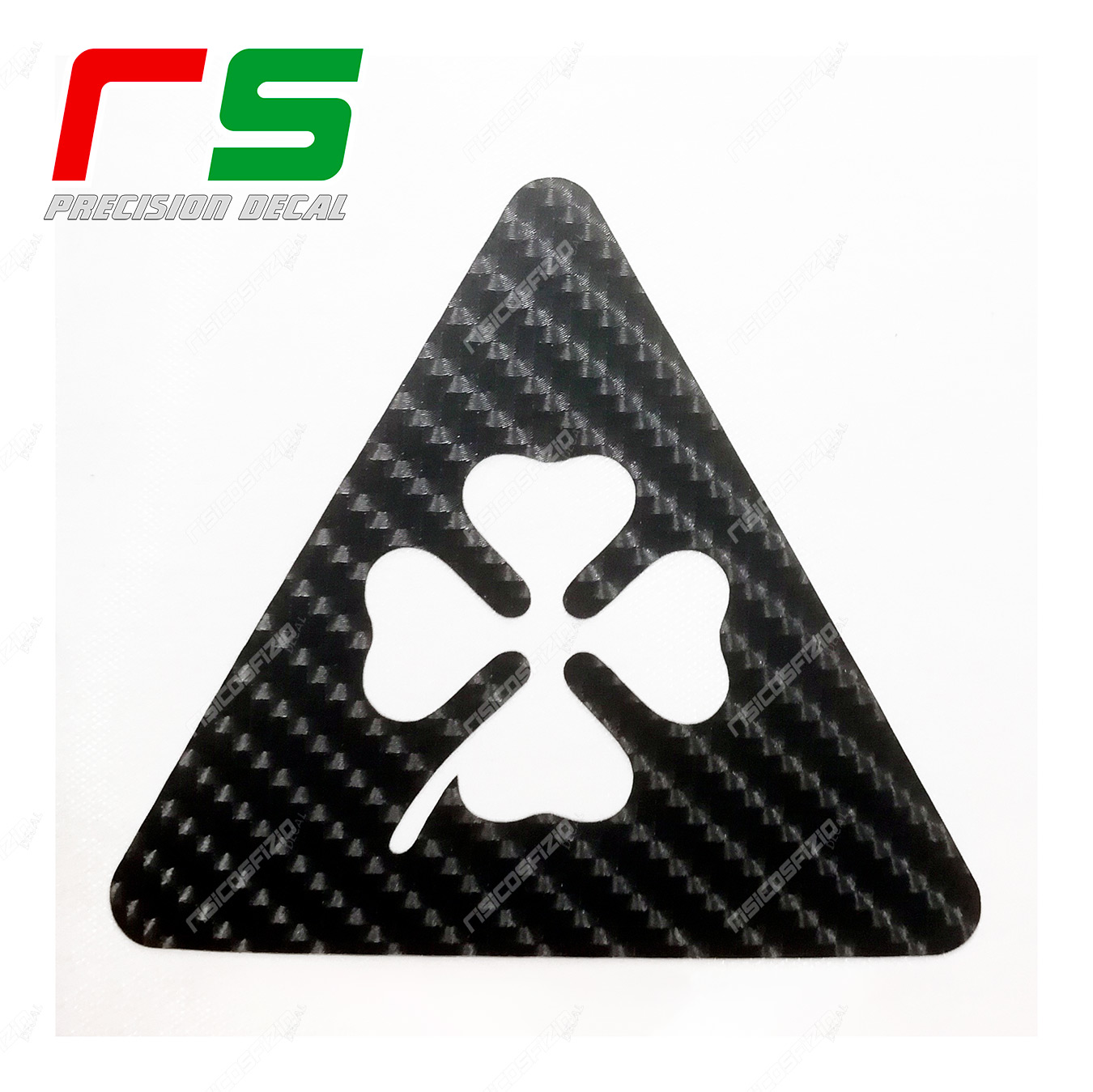 Alfa Romeo triangle stickers four-leaf clover carbon look