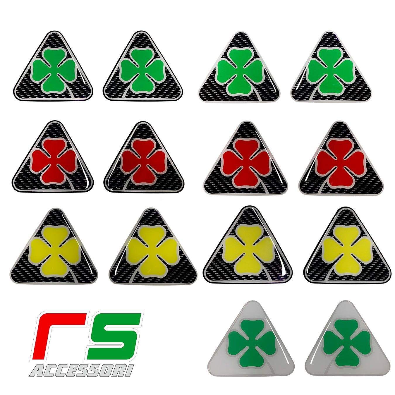 Stickers résine Alfa Romeo trèfle à quatre feuilles aspect carbone